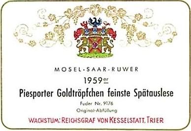 1959 Reichsgraf von Kesselstatt Piesporter Goldtröpfchen feinste Spätauslese